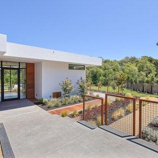 Inspiration pour une porte d'entrée design avec un mur blanc, béton au sol, une porte simple, une porte en verre et un sol gris.