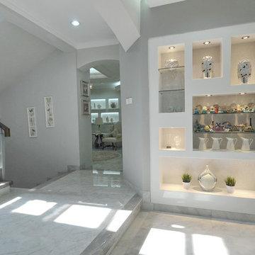 Graceful Modern American Farmhouse Foyer in Southern Jakarta