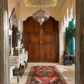 Grand Foyer with Vintage Turkish Oushak Rug