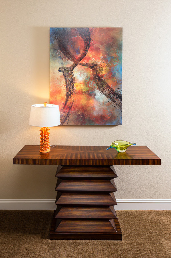 GREAT ART OVER DRAMATIC WOOD TABLE