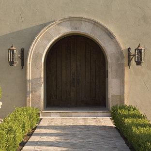 Single front door - traditional single front door idea in Austin