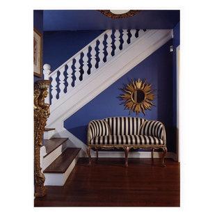 Foyer - eclectic dark wood floor foyer idea in DC Metro with purple walls