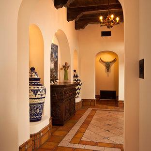Пример оригинального дизайна: узкая прихожая в стиле фьюжн с полом из терракотовой плитки