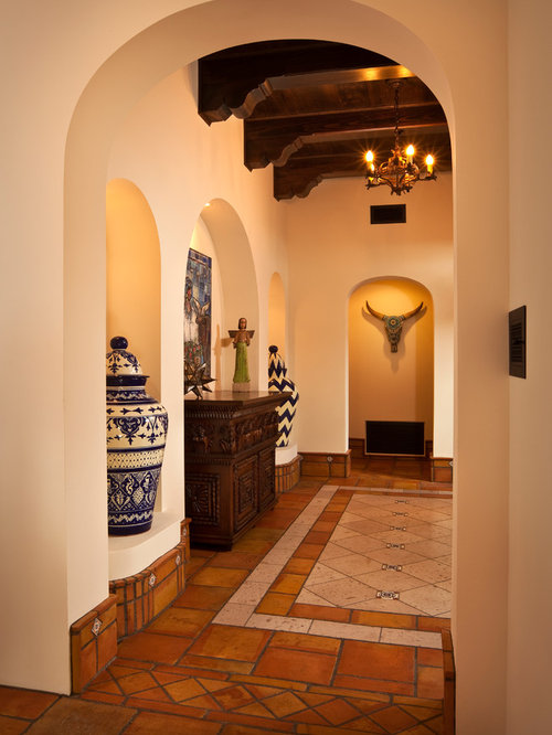 Southwestern Terra Cotta Floor Entry Hall Idea In Phoenix