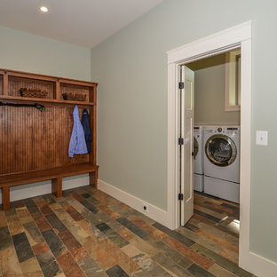 Example Of An Arts And Crafts Porcelain Floor Mudroom Design In DC Metro  With Blue Walls. Save Photo. Hamilton Custom Craftsman Interiors