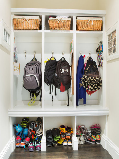 Backpack storage home design ideas pictures remodel and Ideas for hanging backpacks