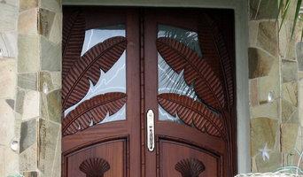 Hand-Carved Mahogany Banana leaf door in San Diego, CA