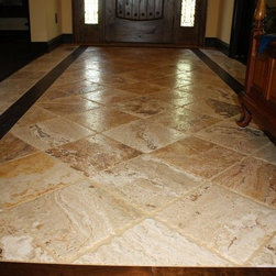 Traditional Travertine Floor Entry Design Ideas Pictures