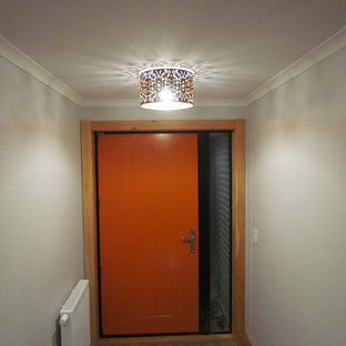 Inspiration for a vinyl floor single front door remodel in Christchurch with an orange front door