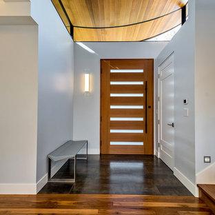 Trendy ceramic floor entryway photo in San Francisco with a medium wood front door