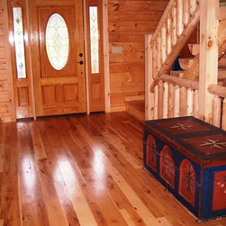 Hull Forest Products - Hickory Wide Plank Floors - This rustic Vermont home features natural character grade American Hickory flooring direct from the sawmill, Hull Forest Products.