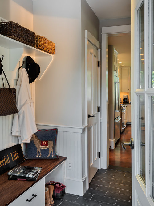 Marvelous Example Of A Coastal Slate Floor Mudroom Design In Portland Maine With Gray  Walls