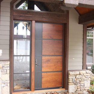 This is an example of a contemporary front door in Charlotte with a metal front door.