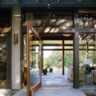 Entryway - modern entryway idea in San Francisco with a glass front door