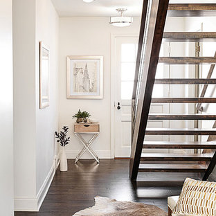 Mid-sized trendy dark wood floor and brown floor entryway photo in Other with white walls and a white front door