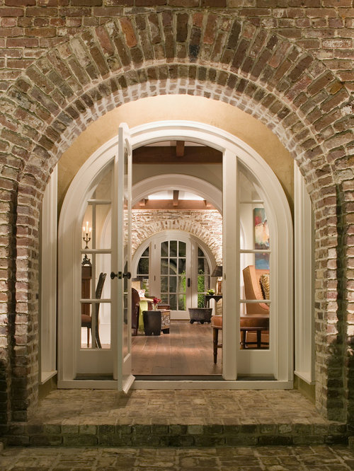 Entrance bricks home design ideas pictures remodel and decor - Living room with front entry ...