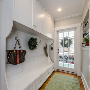 Entryway   Traditional Medium Tone Wood Floor And Brown Floor Entryway Idea  In Tampa With Beige