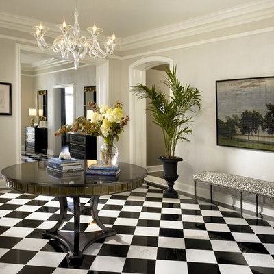 Inspiration for a transitional marble floor and multicolored floor foyer remodel in Chicago with gray walls