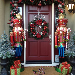 example of a classic entryway design in san francisco with a red front door - Front Door Entrance Christmas Decoration