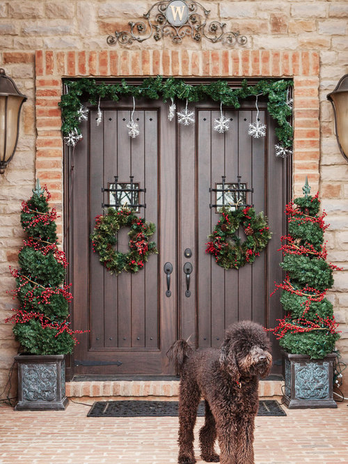 Inspiration For A Timeless Entryway Remodel In Columbus With A Dark Wood  Front Door