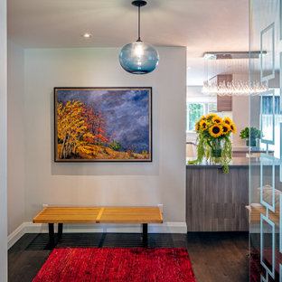 Idéer för små eklektiska entréer, med beige väggar, mörkt trägolv, en enkeldörr, en gul dörr och brunt golv