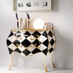 Home & Glamour Black & Ivory PN.14.035 - Black & Ivory Italian small shaped designer chest of drawers handmade in Cherrywood in black and Ivory spades with two drawers. This traditional furniture collection combines a unique French and Italian design. Available in Cherrywood stain or more than 31 painted lacquered colors. Made in Italy.