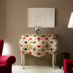 Home & Glamour Game of Cards PN.14.035 Chest of Drawers - Game of Cards Italian small shaped designer chest of drawers handmade in Cherrywood in pokercard patterns with two drawers. This traditional furniture collection combines a unique French and Italian design. Available in Cherrywood stain or more than 31 painted lacquered colors. Made in Italy.