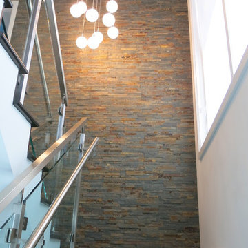 Staircase with TERRABLEND Unitek natural stone panels