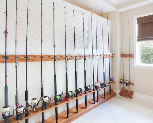 Fishing rod display rack houzz for Fishing rod storage ideas