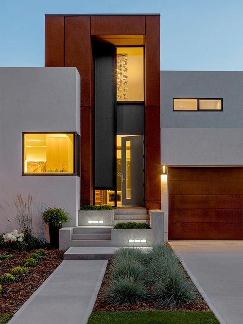 Entryway   Modern Concrete Floor And Gray Floor Entryway Idea In Edmonton  With Beige Walls And