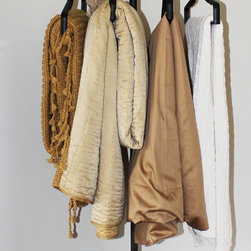 Interior Design - Alternative Hanging Solution created from Traditional Coat Rack.