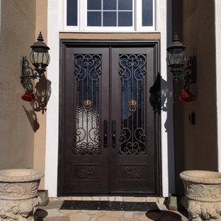Idéer för en stor klassisk ingång och ytterdörr, med en dubbeldörr och metalldörr