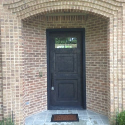 Iron Door - Custom Iron Door with Clear Glass - Antique Bronze Sponge On Faux Finish over Black Base