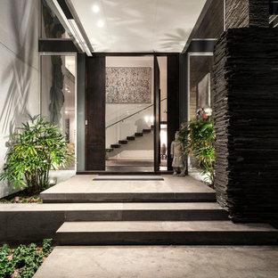 Moderne Haustür mit Granitboden, Drehtür und dunkler Holztür in Perth