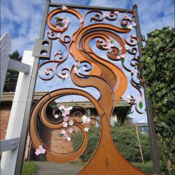 Japanese cherry tree garden gate