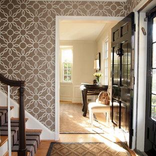 Traditional entryway in Baltimore with medium hardwood floors, a single front door and a black front door.