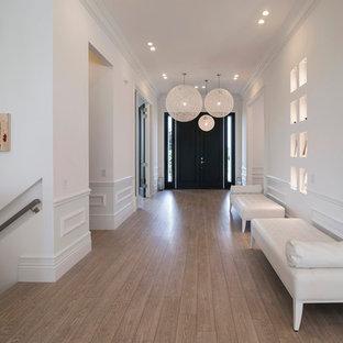 Inspiration för en stor funkis hall, med vita väggar, ljust trägolv, en dubbeldörr och en svart dörr