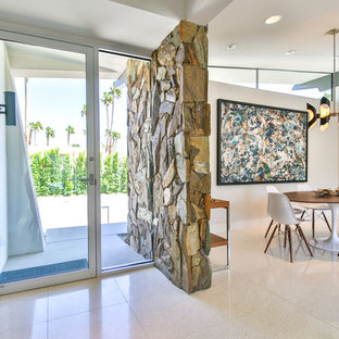 Mid-sized midcentury modern terrazzo floor entryway photo in Other with white walls and a glass front door