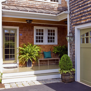 Transitional entryway photo in Boston with a green front door