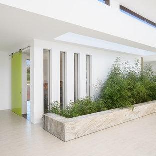 На фото: большое фойе в стиле фьюжн с белыми стенами, полом из керамогранита, раздвижной входной дверью, зеленой входной дверью и серым полом с
