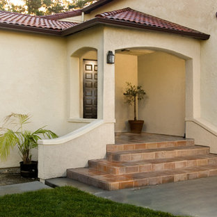 Inspiration for a mid-sized modern entryway remodel in San Francisco with a dark wood front door
