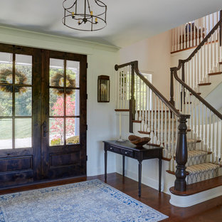 Knotty Alder Double Front Entry Doors and Staircase