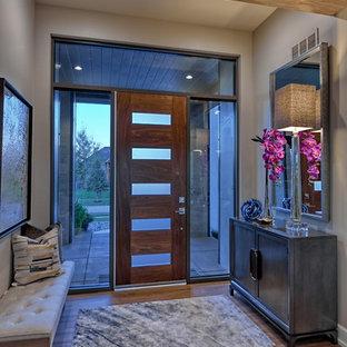 オマハの中サイズの片開きドアミッドセンチュリースタイルのおしゃれな玄関ドア (ベージュの壁、クッションフロア、濃色木目調のドア、茶色い床) の写真