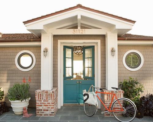 Coastal Front Door Photo In Orange County With A Dutch Door And A Blue  Front Door