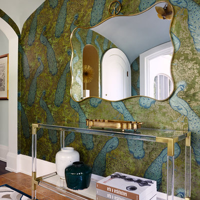 Inspiration for a large eclectic ceramic tile and brown floor foyer remodel in Minneapolis with multicolored walls