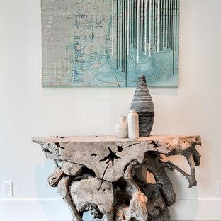 Inspiration för mellanstora moderna foajéer, med vita väggar, ljust trägolv och en enkeldörr