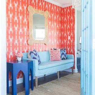 Idéer för en mellanstor maritim foajé, med orange väggar, mörkt trägolv, en enkeldörr, en blå dörr och brunt golv