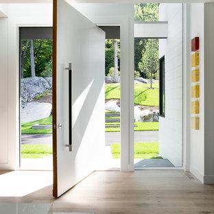 Ejemplo de puerta principal minimalista con paredes blancas, suelo de madera clara, puerta pivotante y puerta blanca