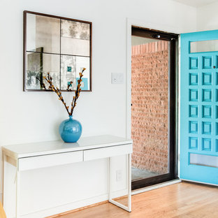Minimalist light wood floor entryway photo in Denver with white walls and a blue front door