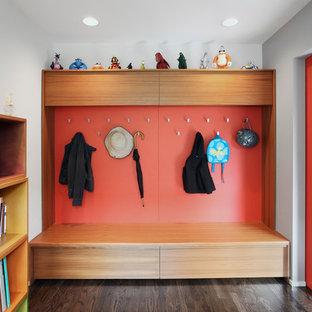 Пример оригинального дизайна: тамбур среднего размера в современном стиле с красными стенами, темным паркетным полом и коричневым полом